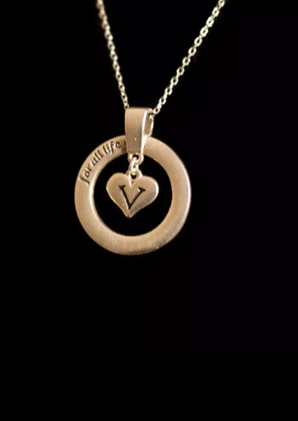 Solid silver Vegan for life pedant necklace with a 16inch chain