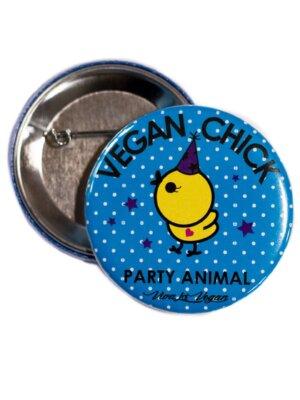 58mm Statement Badge: Vegan Chick Cartoon 58 mm