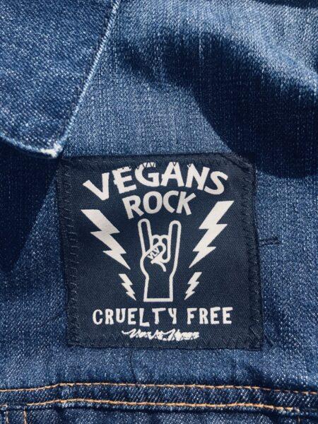 Vegan rock 8cm square sew on patch by eco-ethical brand Viva La Vegan