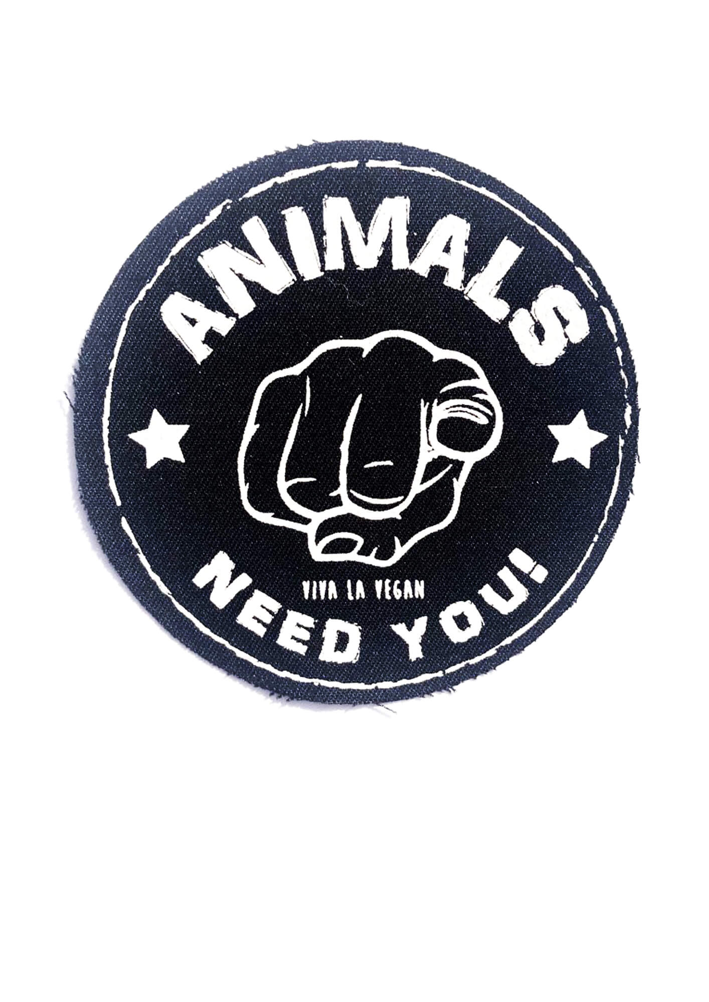 Printed Patch Round - The Animals Need YOU by eco ethical brand Viva la Vegan