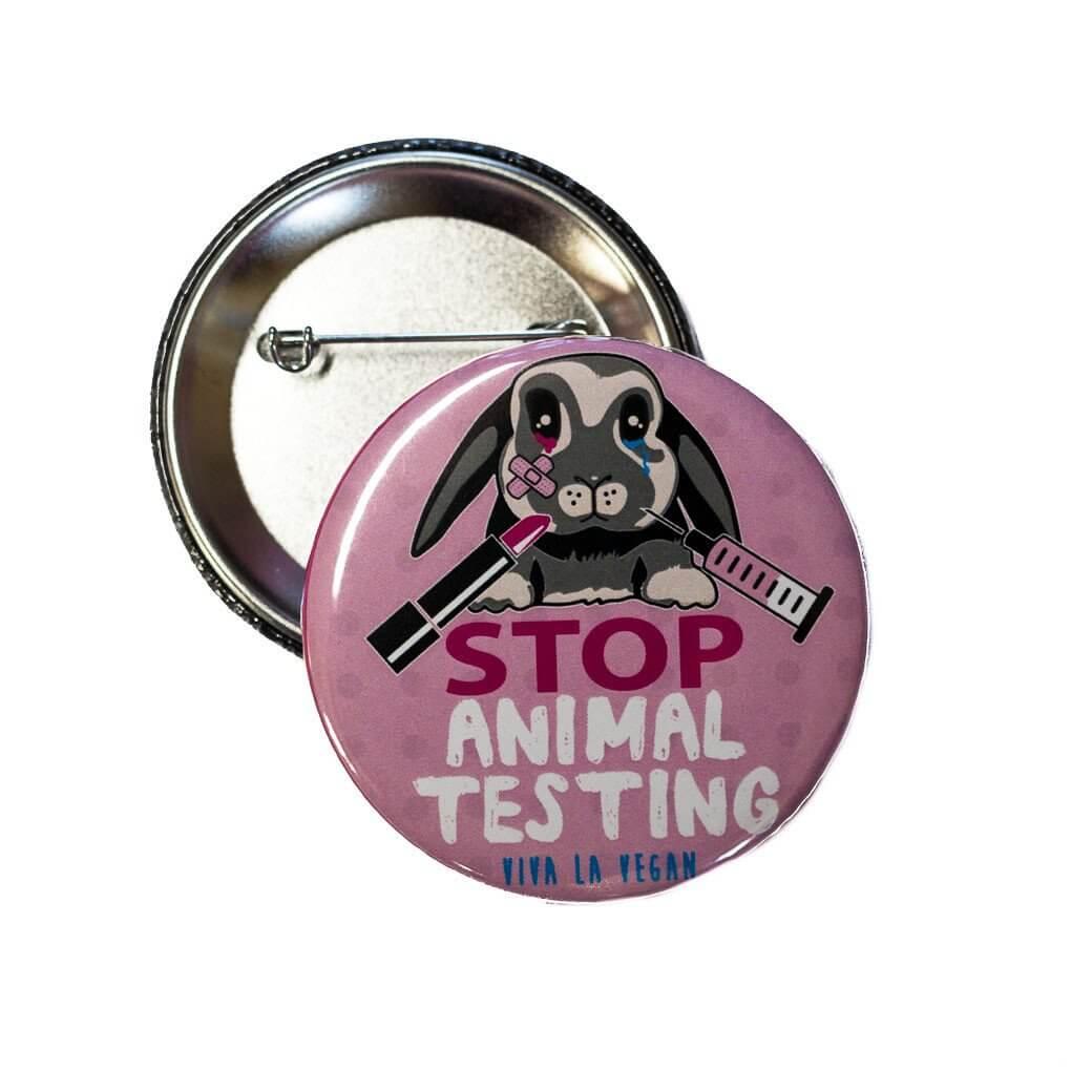 58mm Statement Badge: STOP Animal Testing