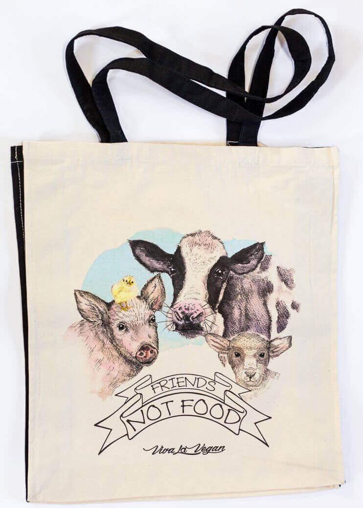 Friends Not Food Natural Organic Canvas 8oz Shopper.