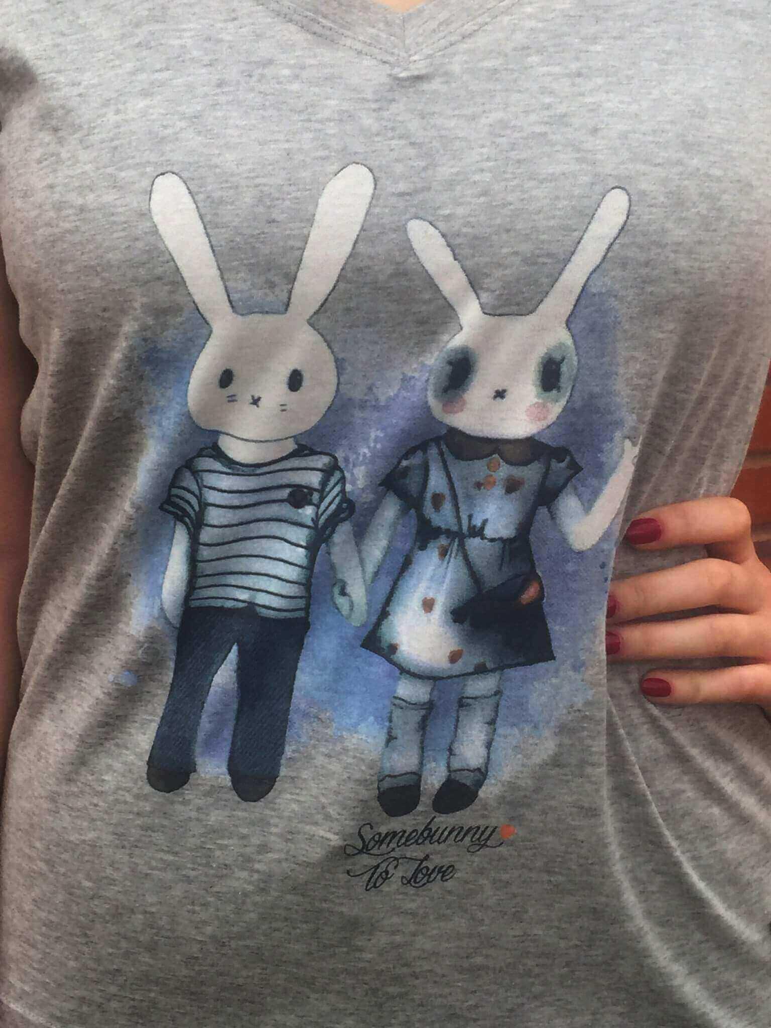 Women's Tshirt : Somebunny To Love Grey Marl
