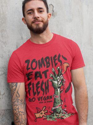 Unisex tshirt. Red Zombies eat flest go vegan by eco-ethical brand Viva La Vegan