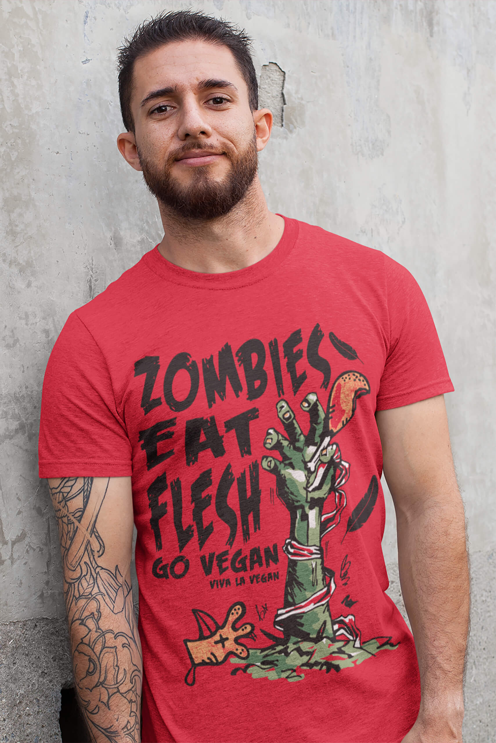 Unisex tshirt. Red Zombies eat flest go vegan by eco-ethical brand Viva La Vegan