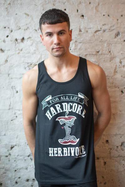 Male Model wearing hardcore herbivore statement organic vest