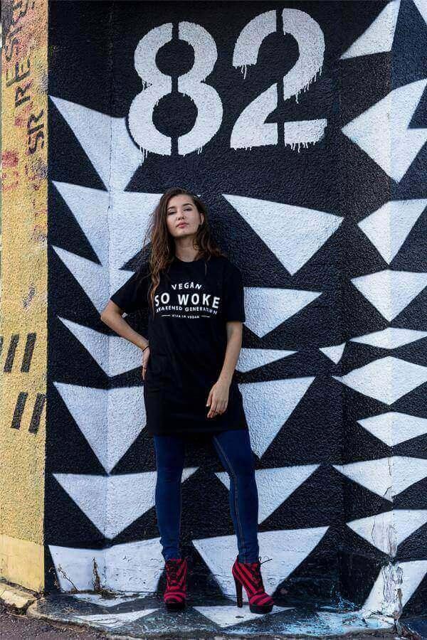 Longline Unisex Skater Tshirt  / Women's Dress : So Woke - Awakened Generation