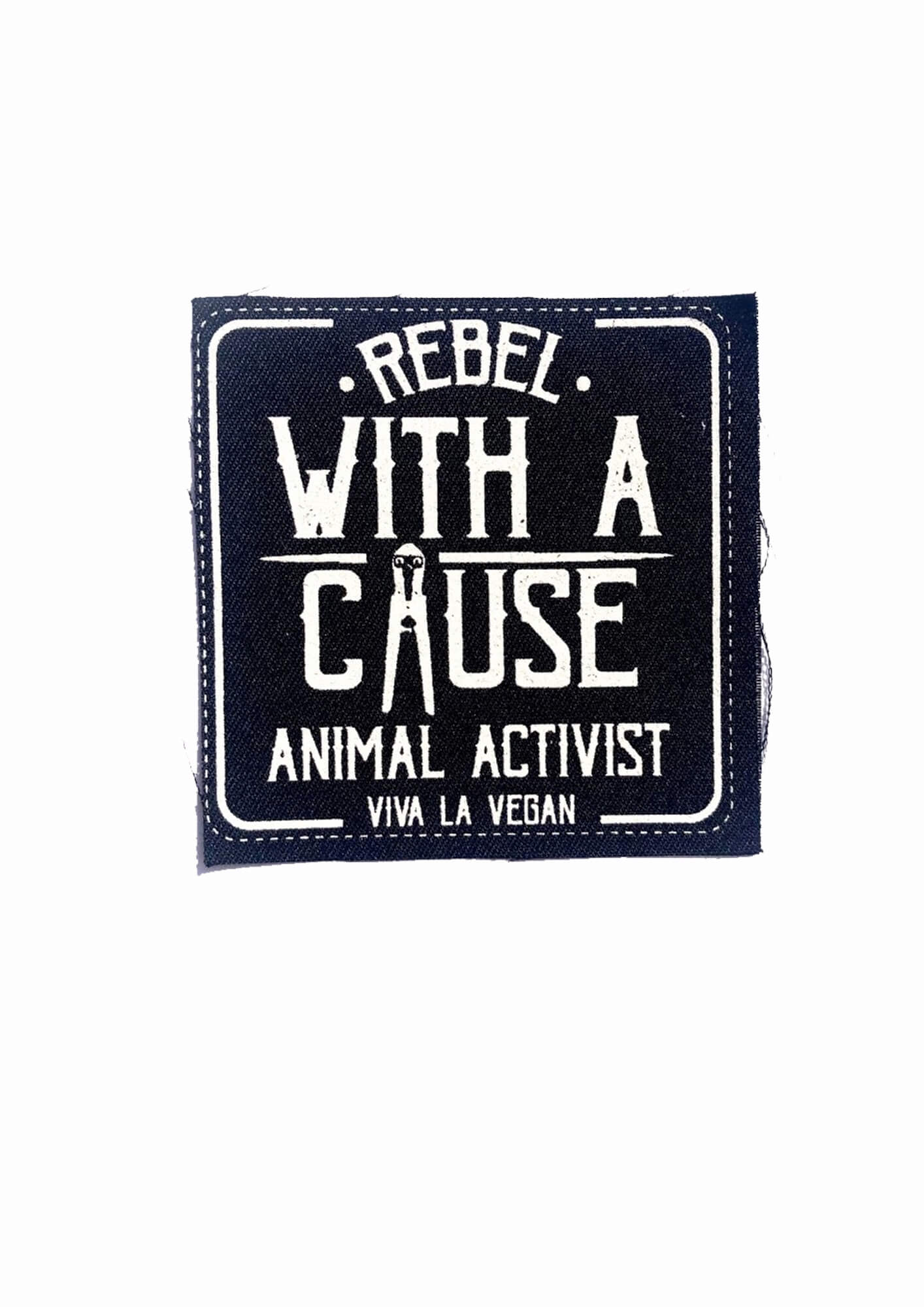 Printed Patch Square - Rebel With A Cause by eco-ethical brand Viva La Vegan