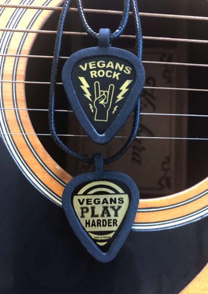Vegan Plectrum necklace holder with 2 vegan picks by eco-ethical brand Viva La Vegan
