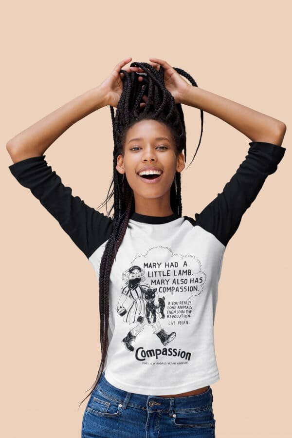 Unisex contrast raglan sleeve t-shirt. Mary had a little lamb. By eco-ethical brand Viva L a Vegan