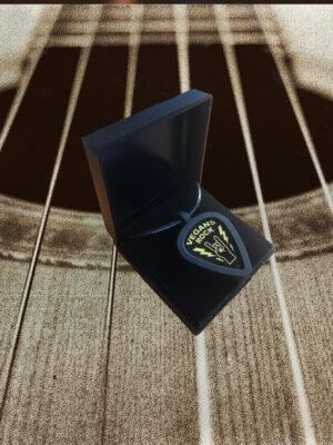 Vegan Plectrum necklace holder in a presentation box by eco-ethical brand Viva La Vegan