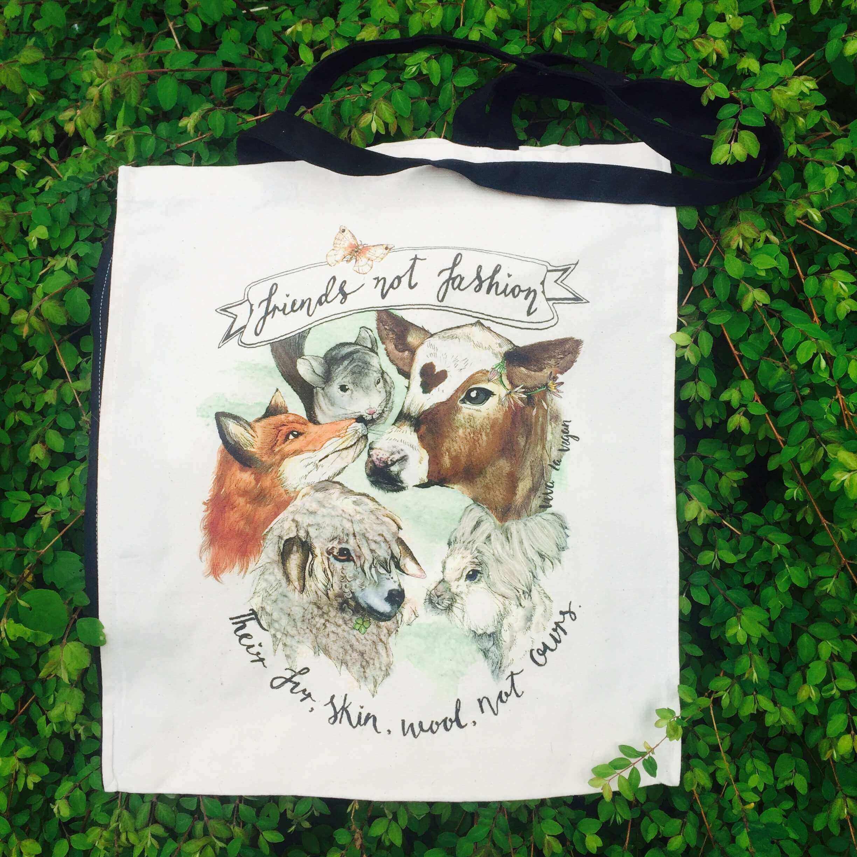 Friends Not Fashion- Natural Organic Canvas 8oz Shopper