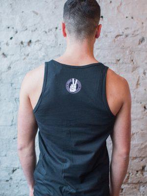 Male Model Wearing Vegan Rocks Statement Organic Cotton Vest