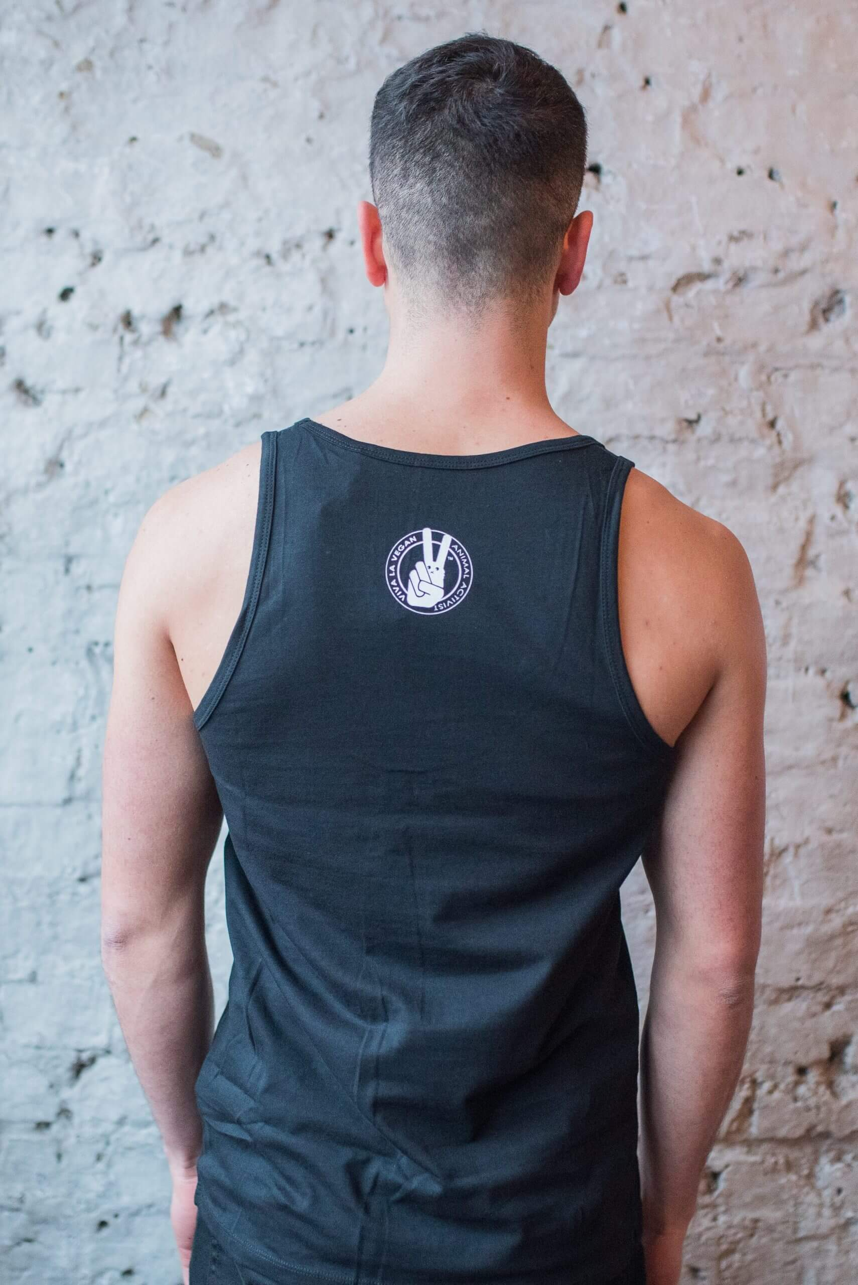 Male Model Wearing Vegan Rocks Statement Organic Cotton Vest