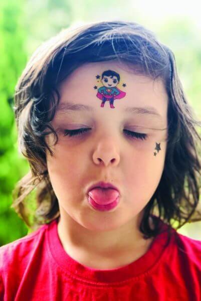 Temporary super vegan tattoo. Superhero design by eco-ethical brand Viva la vegan.com