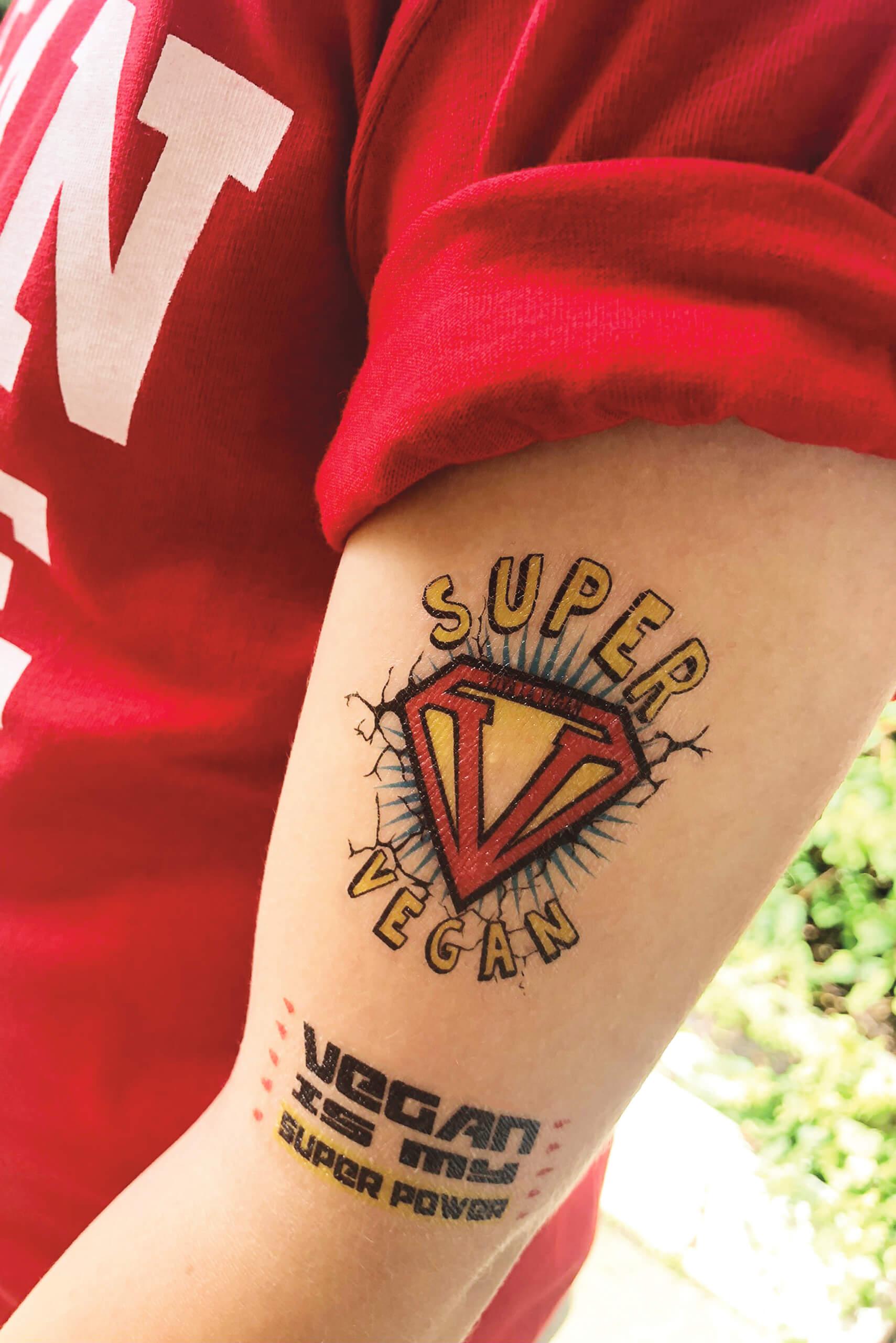 Temporary tattoo Superhero design by eco-ethical brand Viva la vegan.com