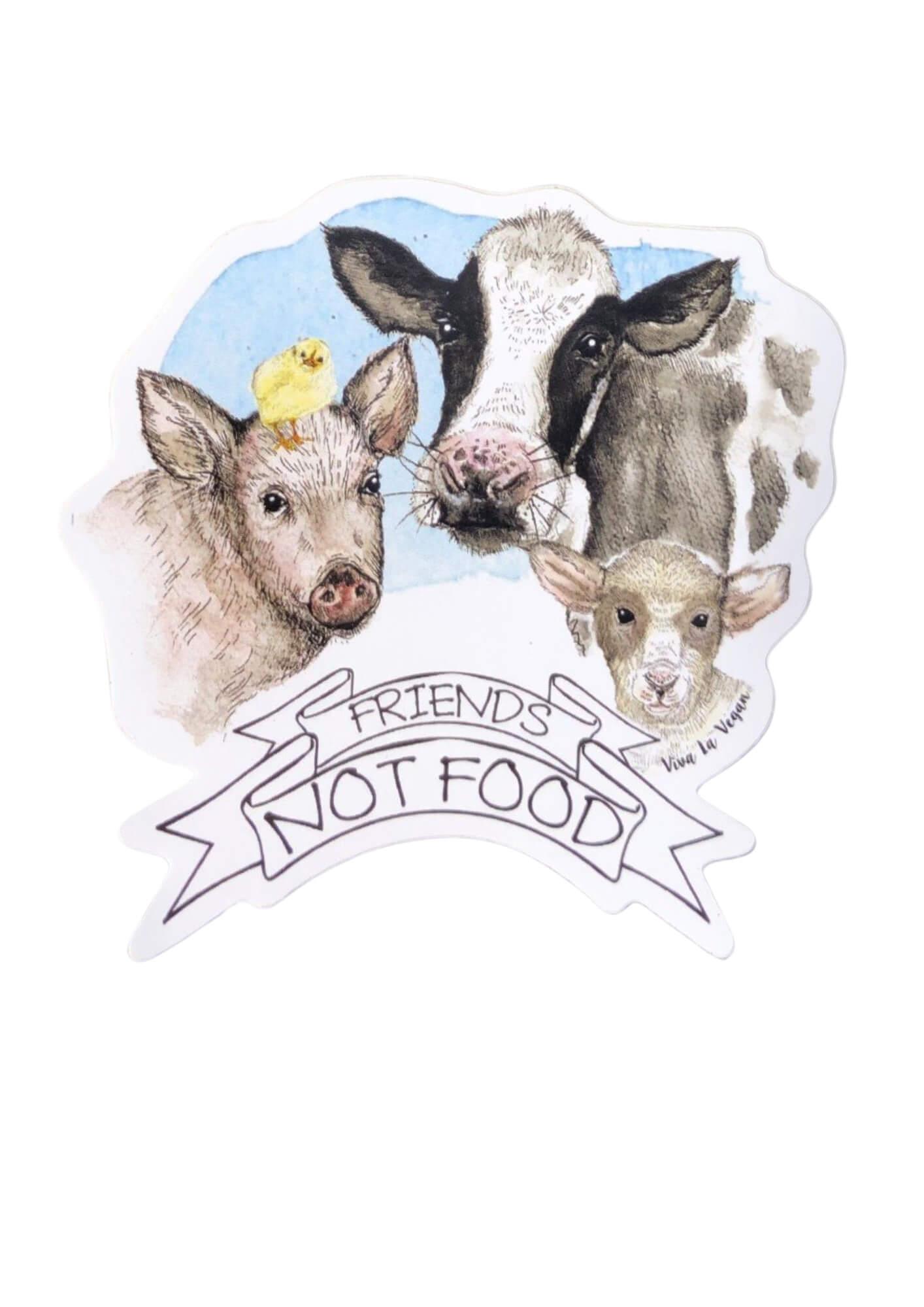 Friends not food vinyl sticker by eco ethical brand Viva La Vegan