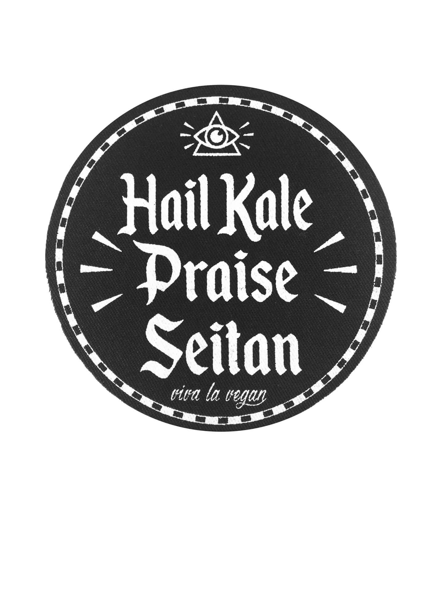 Printed Patch Round - Hail Kale Praise Seitan by eco ethical brand
