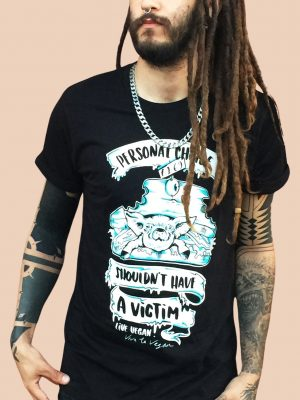 Unisex tshirt with roll sleeve. Personal choice shouldn't have a victim by eco-ethical brand Viva La Vegan