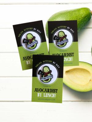 28mm Statement Enamel Pin: Avocadist by Eco ethical brand Viva La Vegan x 3