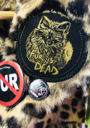 Fur is dead premium patch iron or sew on patch by eco ethical brand Viva La Vegan