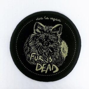 Premium Printed Patch Round - FUR IS DEAD! (iron on)