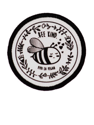 Premium Printed Patch Round - BEE NICE (iron on) by eco ethical brand Viva La Vegan