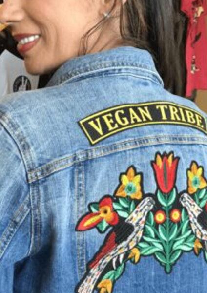 Vegan tribe patch on a denim jacket