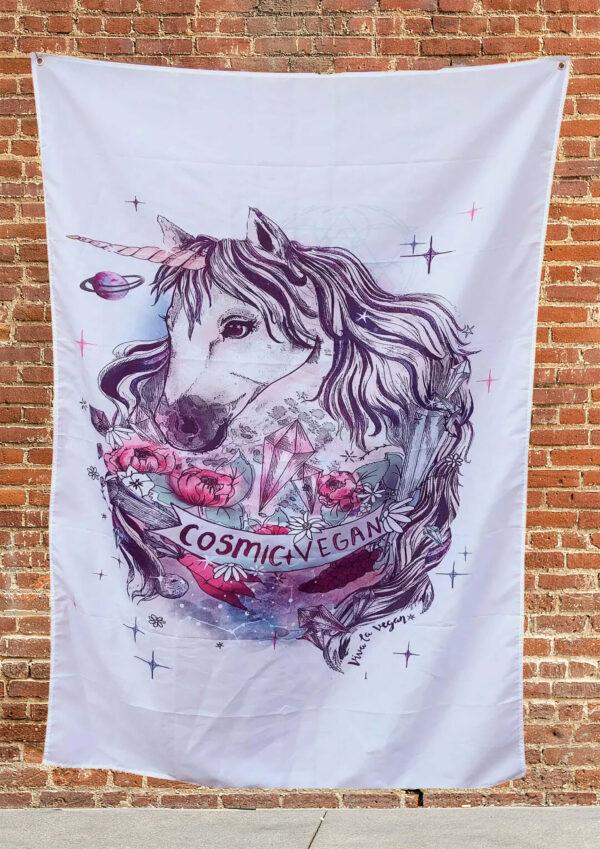 Large Vegan flag- Cosmic vegan by Eco ethical brand Viva La Vegan