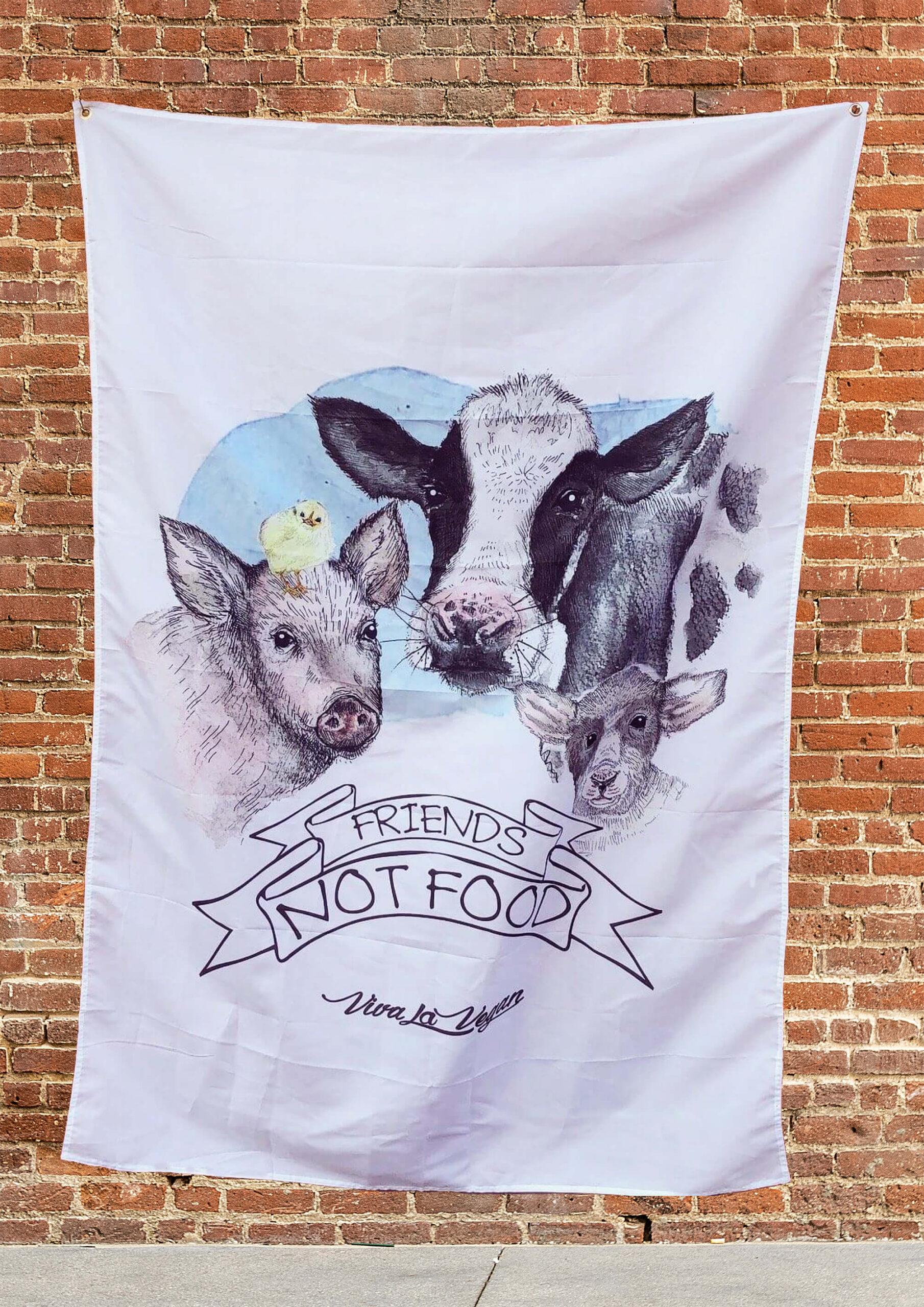 Vegan statement flag- friends not ffod design by Eco-ethical brand Viva La Vegan