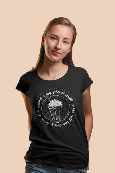 Ladies black t-shirt My plant milk saves all the cows in the yard