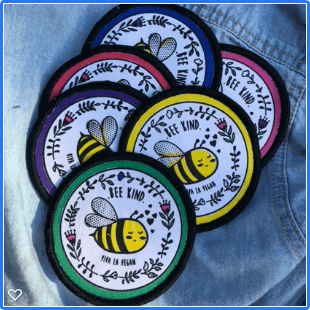 Premium Printed Patch Round - BEE NICE (iron on)
