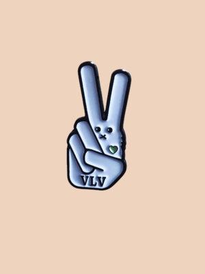 VLV signature bunny vegan pin by eco ethical brand Viva La Vegan