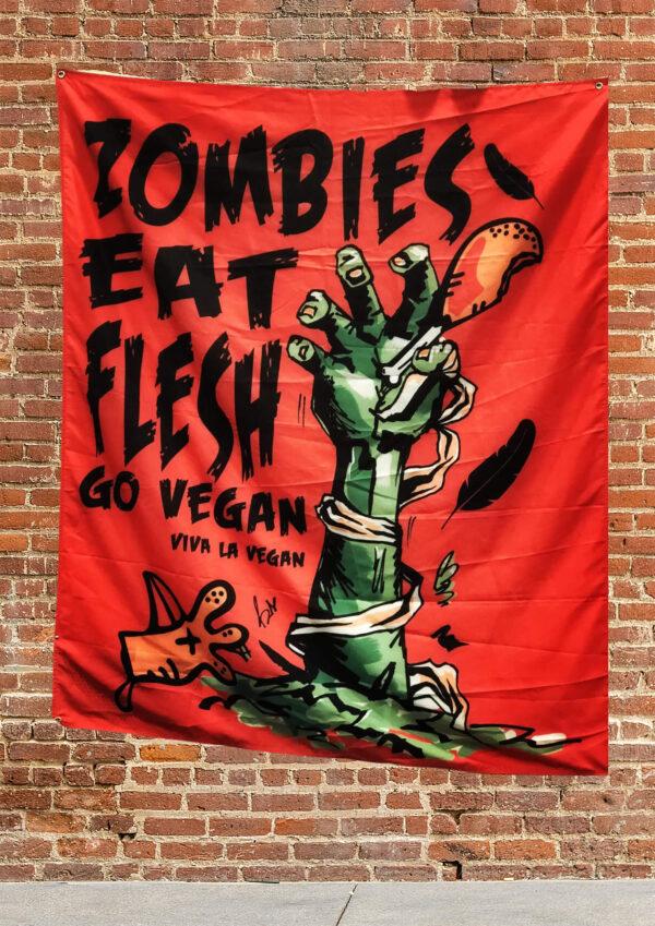 Vegan protest flag: Statement large Flag: Zombies Eat Flesh Go Vegan By Eco-ethical brand Viva La Vegan
