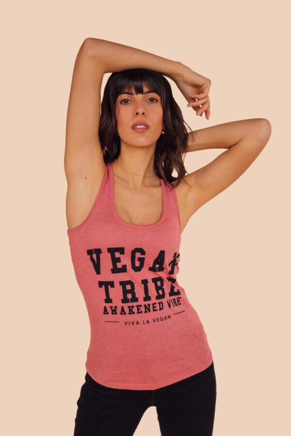 vegan tribe pink vest
