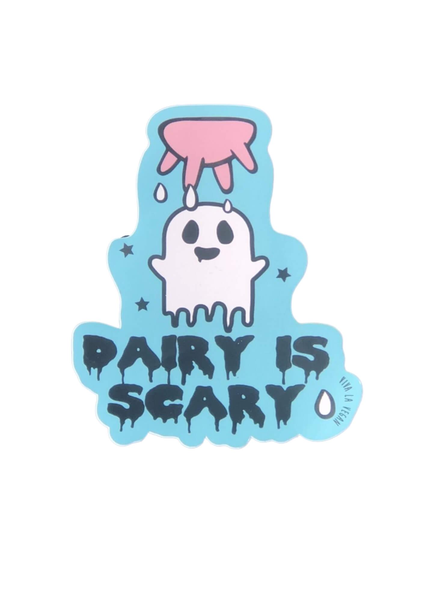 Vinyl Vegan Sticker - Dairy Is Scary by eco ethical brand Viva La Vegan