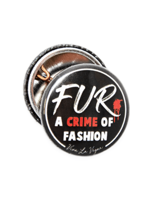 fur is a crime of fashion badge