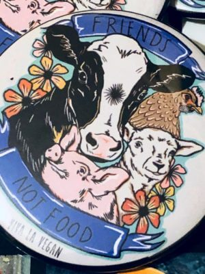 58 mm Statement Badge: VLV Friends NOT Food new