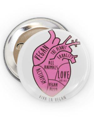58mm Badge: Vegan In My Heart