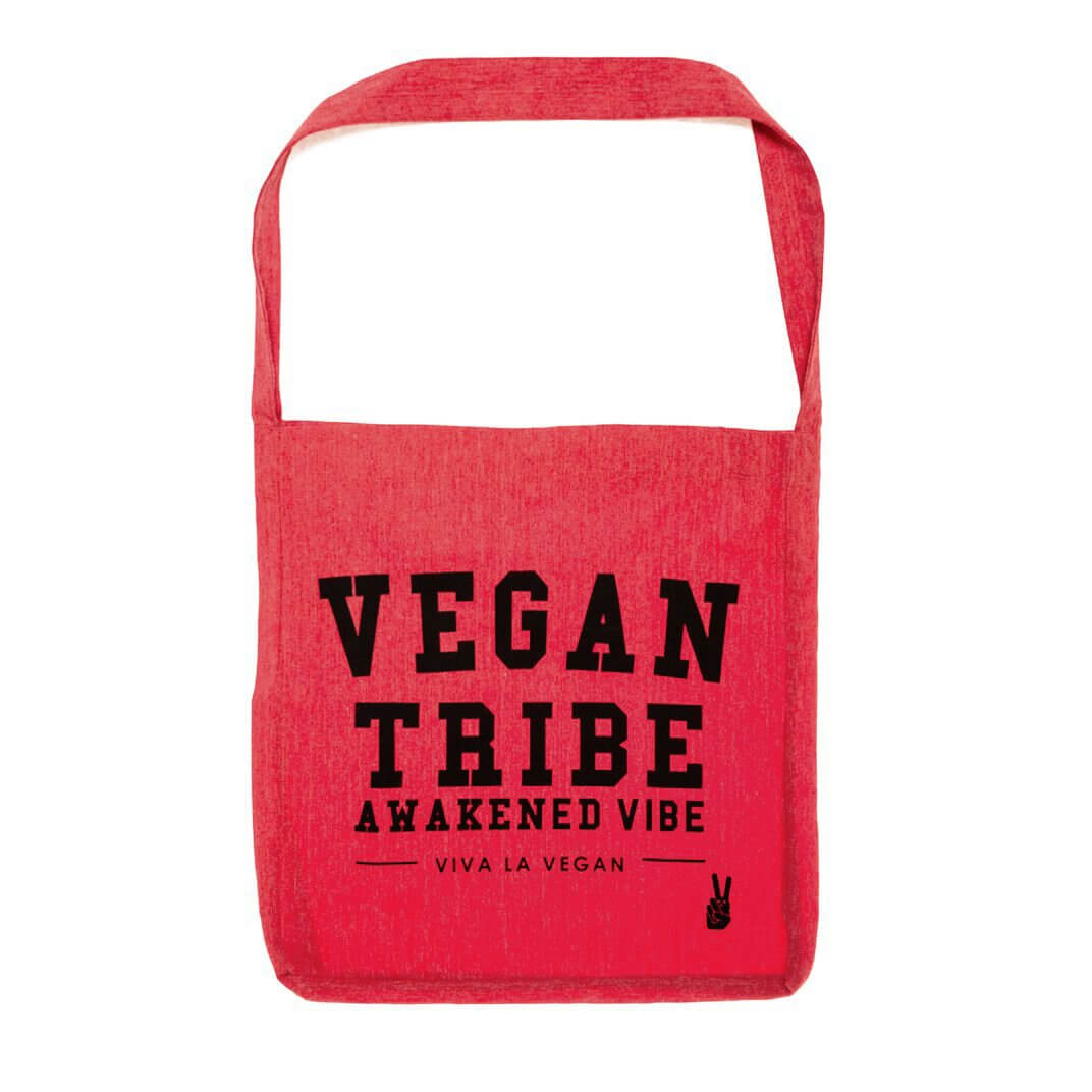 Vegan Tribe Tote Sling Bag: Recycled Fibres RED