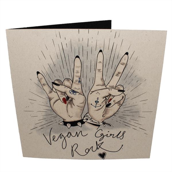 Greetings Card: Vegan Girls Rock!