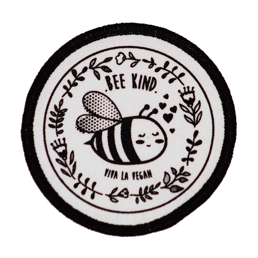 Premium Printed Patch Round - BEE NICE (iron on)