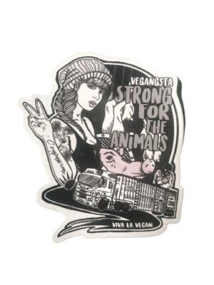 Vinyl Vegan Sticker - Strong For The Animals