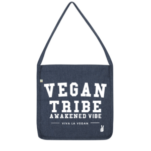 Vegan Tribe Bag made with recycled water bottles in colour navy by eco ethical brand viva la vegan