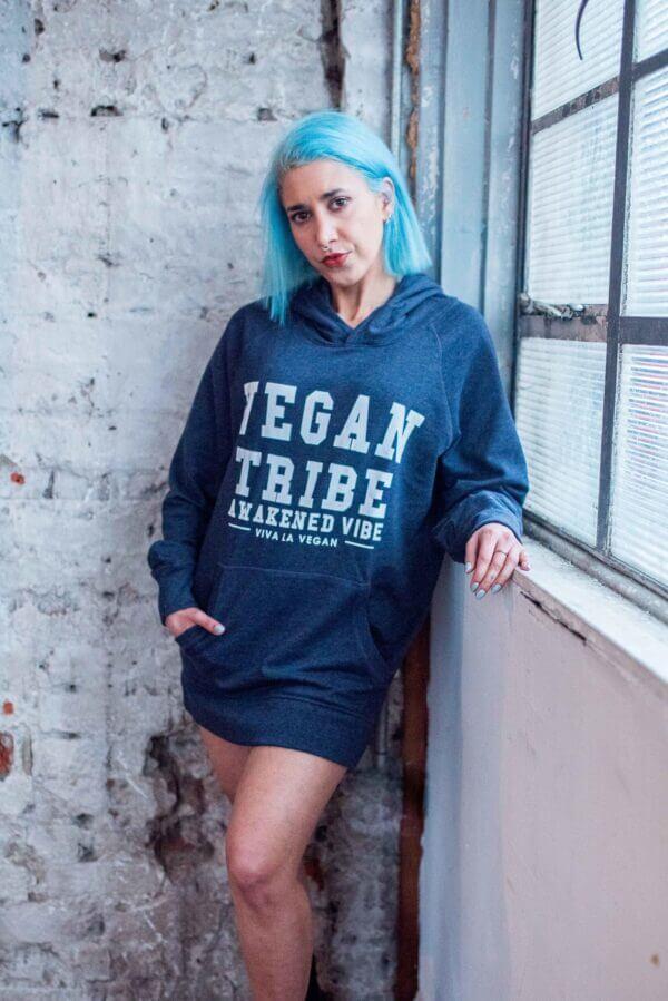vegan tribe blue hoodie
