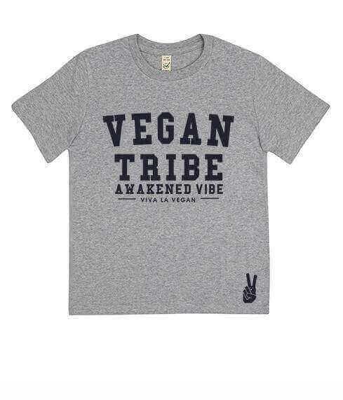 Childrens Vegan Tribe T-shirt . Awakened Vibe (unisex) GREY MARL