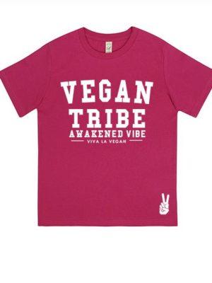 Childrens Vegan Tribe T-shirt . Awakened Vibe (unisex) HOT PINK