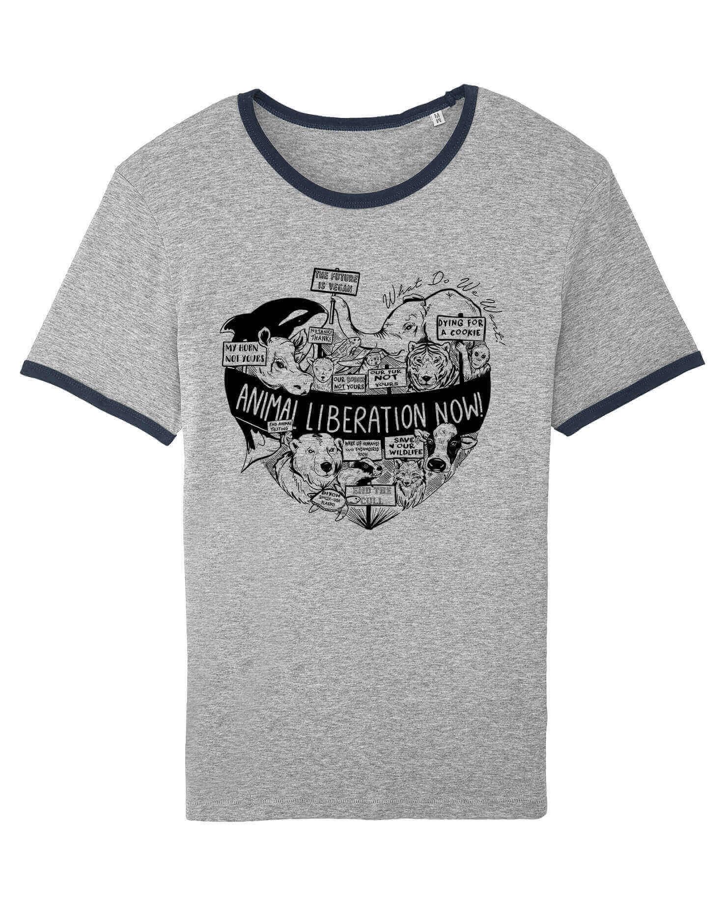 Unisex Tshirt : Animal Liberation GREY MARL