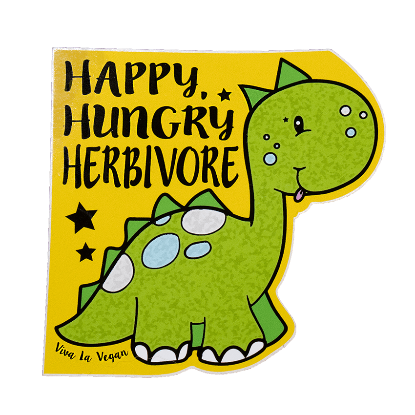 Vinyl Vegan Sticker - Happy Hungry Herbivore