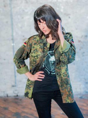 Reworked army surplus jacket by eco-ethicak brand Viva La Vegan